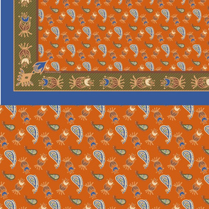 Paisley Scarf-Persimmon and Cream