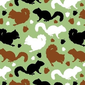 Squirrels and Acorns in Green