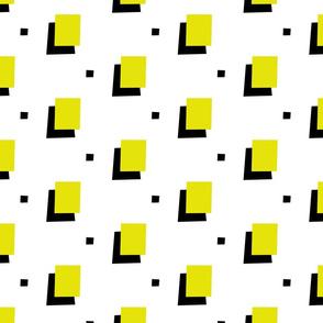 Yellow 80s squares on white