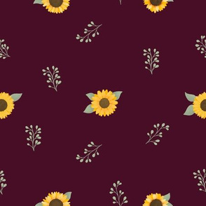 Sunflowers and Fauna (Red) - Sunflower Fields Collection