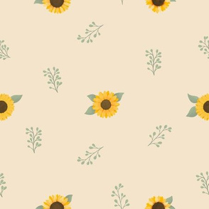 Sunflowers and Fauna (Cream) - Sunflower Fields Collection