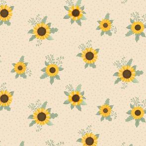 Suntastic Sunflowers (Cream) - Sunflower Fields Collection