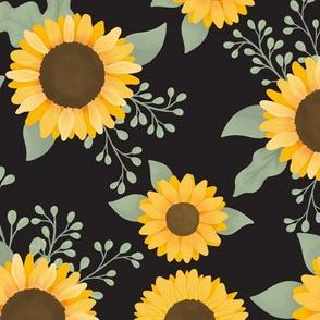 Field of Sunflowers (Black) - Sunflower Fields Collection