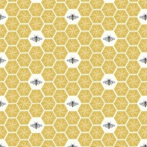 Bees Stitched Honeycomb - Small - Gold