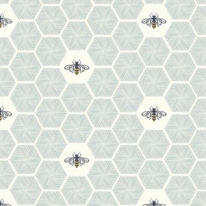 Bees Stitched Honeycomb - Medium - Light Blue -