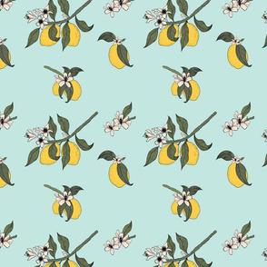 Lemon Tree Branch Pattern Blue Ready to Print-02