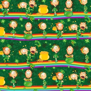 Irish Spring Leprechauns – Small Scale Fat Quarter  – Silly scene of St Patrick Day Tradition  to Catch a Leprechaun & Get his Pot of Gold at the End of the Rainbow – Dark Green Shamrock Clover background