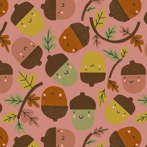 Acorns & Autumn Leaves - pink