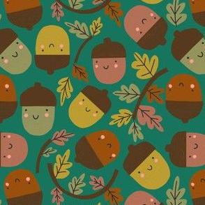 Acorns & Autumn Leaves - green