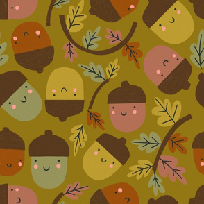 Acorns & Autumn Leaves - olive