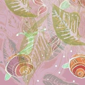 Batik Effect  Snails & Leaves - Dusky Pink