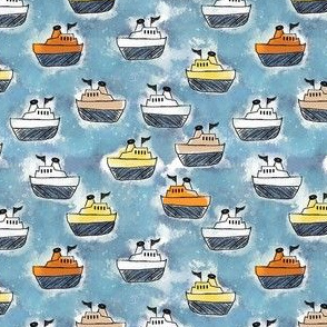 Toy Tugboats on Blue