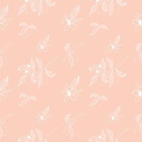 Lemon Tree Branch Pattern_Lemon Tree Branch Pink White Pattern Seamless
