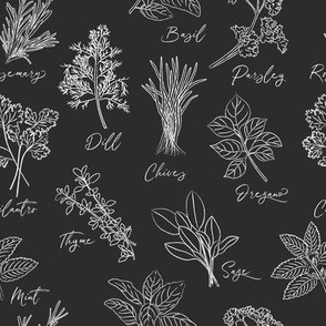 Herbs in Black and White