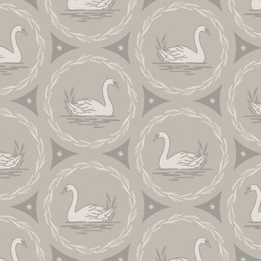Swans a Swimming - Gray Large scale