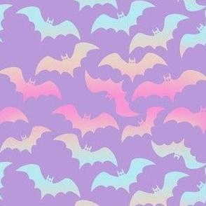 Soft Pastel Bats on Purple
