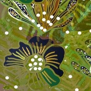 Bohemian Batik Stlye Autumn Flora Hellibores - Greens, Purples, Gold, Black