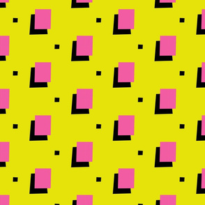 Pink 80s Squares on Yellow