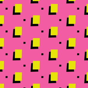 Yellow 80s squares on pink