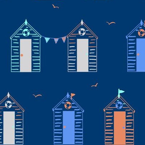 Beach Hut and Bunting, Navy
