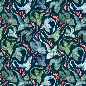 Dragon fire dark blue & green small