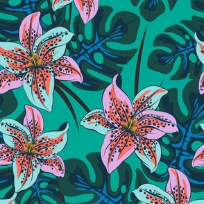 tropical lily -teal large