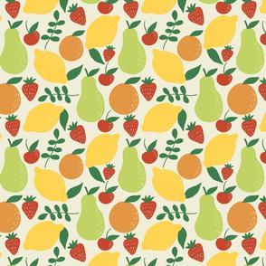 Fancy Fruit: Mixed Fruit Pear Orange Cherry Lemon Strawberry