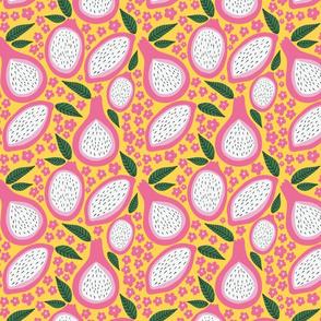 Fancy Fruit: Pink Pomegranate Floral & Leaves
