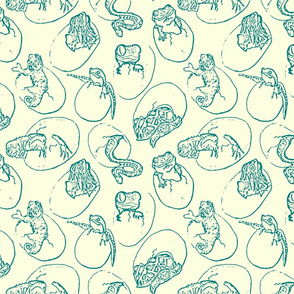 Hand-drawn Colorful Babies Reptiles Hatchlings-Toile teal on cream