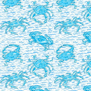 Blue crab on blue