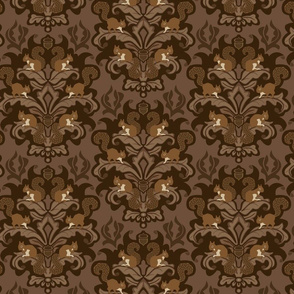 Squirrel Damask - Winter palette small scale
