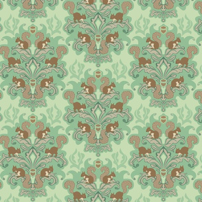 Squirrel Damask - Spring palette small scale