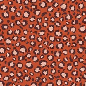 Terra Cotta and rust Orange Leopard Spots Print - Animal Print
