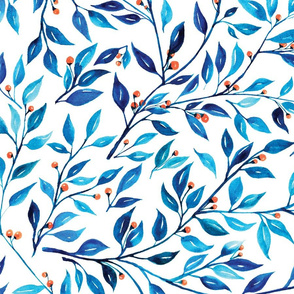 Watercolor climbing vines of blue leaves with orange berries