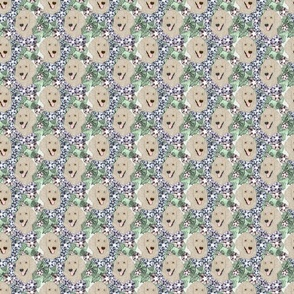 Small Floral Cream Standard Poodle portraits