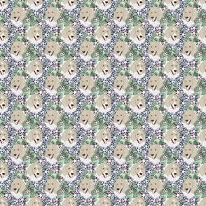 Small Floral Parti Cream Standard Poodle portraits