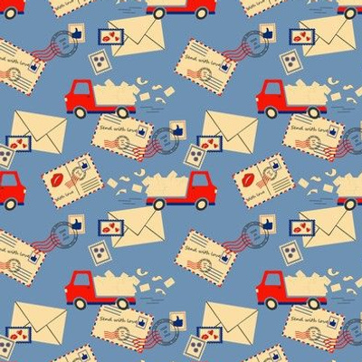 Seamless vector pattern with vintage envelopes and delivery van on blue background. Postage service wallpaper design. Transport fashion textile.