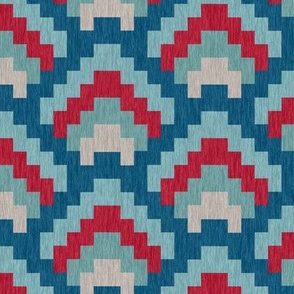 Bargello Mountain Range in Red White and Blue