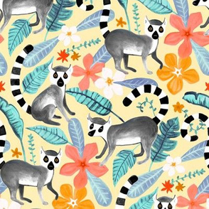 Gouache Lemur Land on Cream