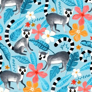 Gouache Lemur Land on Blue
