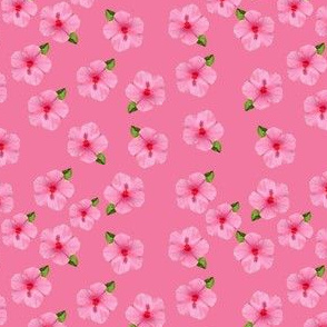 Hibicus flower tiled offset fabric design pink