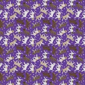 Tiny Trotting Lagotto Romagnolo and paw prints - purple