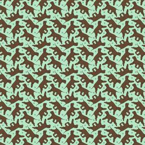 Tiny Trotting Irish Water Spaniels and paw prints - mint