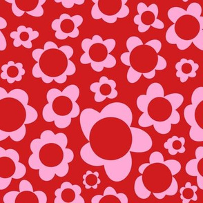Cutout Daisy Scandi Floral in Red + Pink