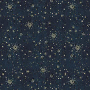 2 inch gold stars in night sky on midnight blue