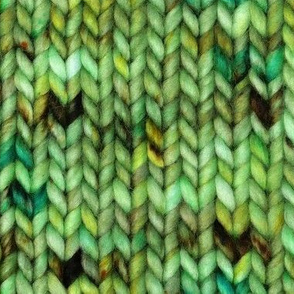 Chunky speckled stockinette stitch - green