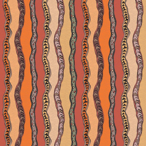 small Aboriginal Stripes-Red earth