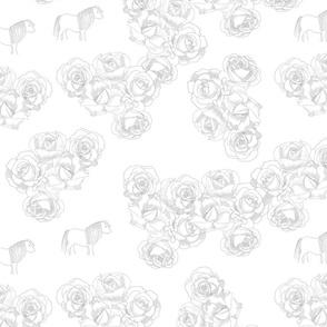 Summer toile roses ponies Grey