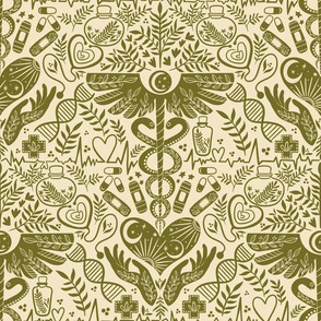 Health and wellbeing, doctor and nurse, medicine, olive green