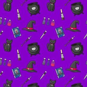 purple cat witch magic cauldron candles potions
